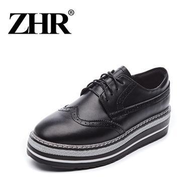 ZHR春季新款英伦风小皮鞋厚底松糕鞋平底单鞋真皮休闲鞋女鞋