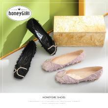 honeyGIRL2019新款女鞋春季单鞋晚晚鞋平底仙女温柔鞋网红方头鞋HG19SP491XT175