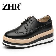 ZHR春季新款厚底松糕鞋高跟小皮鞋平底休闲鞋单鞋英伦风女鞋