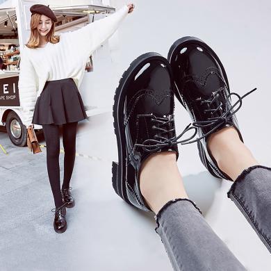 英伦风女鞋阿么新款复古粗跟单鞋布洛克系带圆头学院风小皮鞋