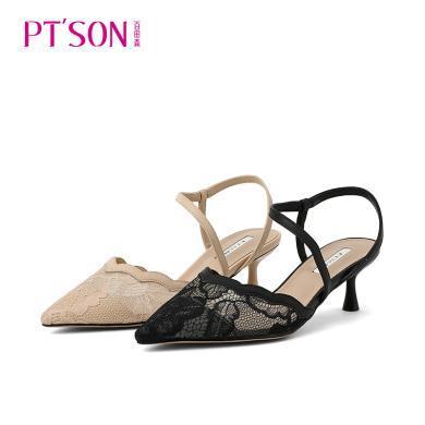 百田森包頭涼鞋女新款細跟高跟尖頭蕾絲仙女風女士中空鞋PYQ19517