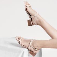 青婉田日系涼鞋女新款一字帶夏季女鞋中跟簡約百搭小清新涼鞋Y19XL1196