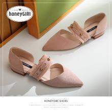honeyGIRL2019新款女鞋春季鞋子玛丽珍鞋复古温柔鞋仙女平底单鞋HG19FA281XT265