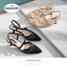 honeyGIRL2019新款春季浅口单鞋法式少女高跟鞋细跟尖头玛丽珍鞋HG19SP401XT452