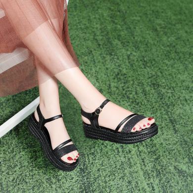 古奇天倫2019夏季新款學生時尚百搭露趾坡跟涼鞋一字式扣帶女鞋9480