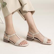 青婉田真皮一字帶涼鞋女新款露趾百搭中跟夏季女鞋粗跟羅馬鞋Y19XL1289