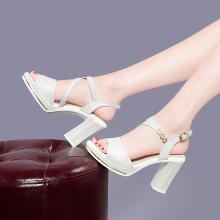 搭歌2019新款女鞋夏季粗跟鱼嘴防水台时尚细线百搭凉鞋女MO9256