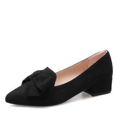 ZHR春季新款網紅尖頭單鞋蝴蝶結粗跟女鞋黑色平底奶奶鞋子冬