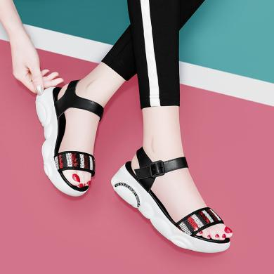 古奇天倫2019夏季新款時尚百搭露趾厚底涼鞋一字式扣帶拼色女鞋9481