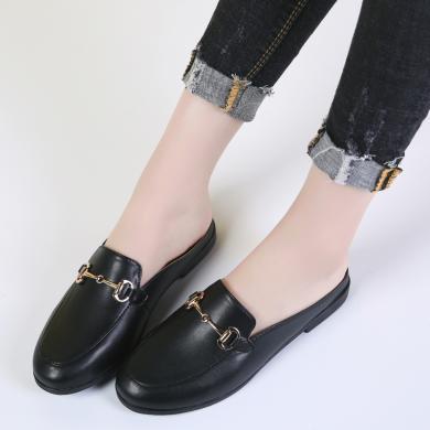 如熙新款半拖單鞋女時尚簡約穆勒休閑鞋女MM1910