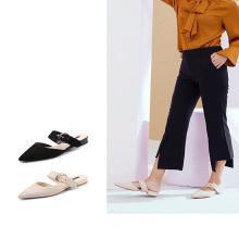 honeyGIRL2019春季新款女鞋网红同款尖头穆勒鞋平底鞋时尚懒人鞋HG18SP081XT599