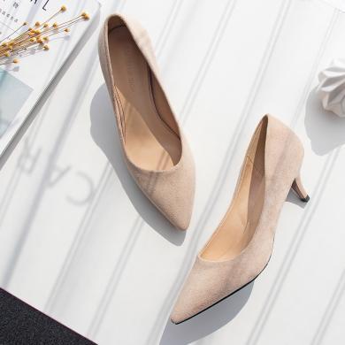 搭歌2019年夏季新款尖頭細跟百搭時尚單鞋通勤職業鞋高跟鞋貓跟女鞋FH292-11