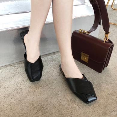 如熙新款方頭穆勒鞋女低跟涼拖女夏無后跟懶人鞋包頭半拖MN19S