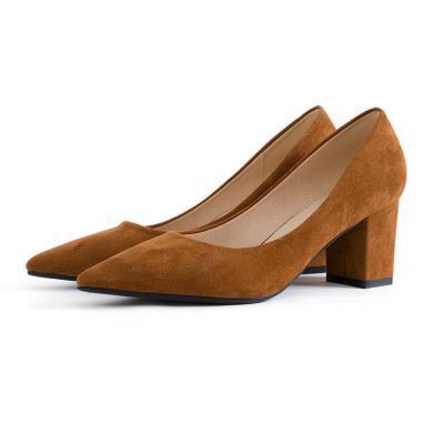 搭歌2019夏季新款女鞋低幫鞋尖頭高跟鞋氣質粗跟單鞋FH1308-1
