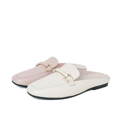 百田森PYQ19229新款方頭后空休閑鞋頭層牛皮平跟女鞋