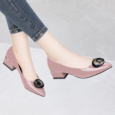 金絲兔新款春季女鞋子百搭粗跟媽媽單鞋職業工作高跟鞋