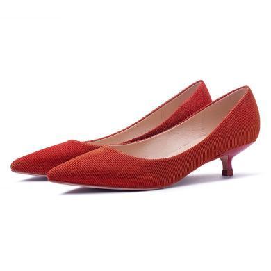 搭歌2019夏季婚鞋女紅色新娘高跟鞋女細跟尖頭淺口中式婚禮鞋單鞋FBY295-6