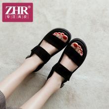 ZHR夏季新款韩版百搭运动凉鞋松糕厚底女鞋港风学生复古鞋子