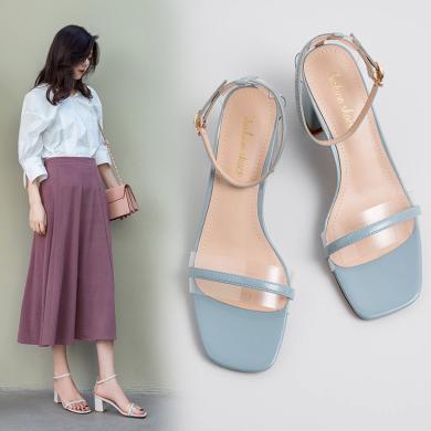 MIJI2019夏季新款女鞋露趾粗跟純色簡約百搭涼鞋一字扣低跟涼單鞋CD-ZJ-S8971
