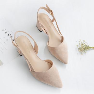 搭歌2019夏季新款韓版一字扣包頭涼鞋女粗跟女小清新中跟尖頭女鞋FFH181-3