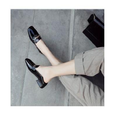 ZHR单鞋女春款浅口中跟乐福鞋英伦小皮鞋春季新款粗跟方头鞋