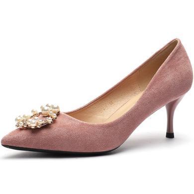 搭歌2019夏季珍珠扣尖頭婚禮高跟鞋女細跟單鞋女中跟婚鞋FFH295-10