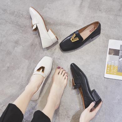 ZHR春季新款英倫風小皮鞋ins樂福鞋粗跟單鞋中跟百搭休閑鞋女