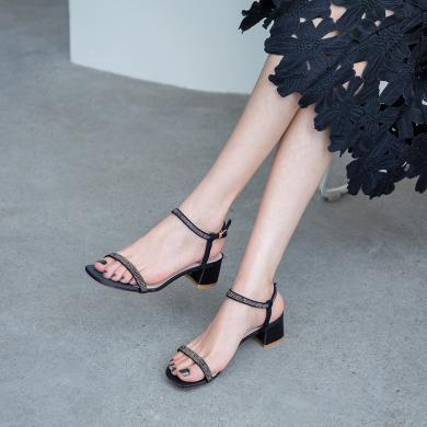 MIJI2019夏季新款女鞋露趾粗跟純色簡約百搭涼鞋一字扣低跟涼單鞋CD-ZJ-S8912