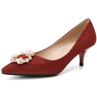 搭歌2019新款婚禮鞋亮片布珍珠扣婚鞋尖頭紅色高跟鞋女細跟女鞋FFH292-9