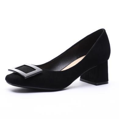 搭歌2019夏季單鞋女方頭高跟鞋韓版方扣時尚女鞋淺口粗跟單鞋FFH1270-15