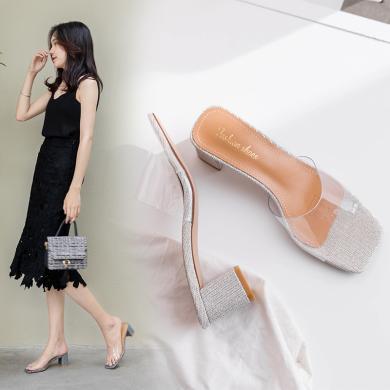MIJI2019夏季新款女鞋露趾粗跟純色透明簡約拖鞋潮涼拖鞋CD-ZJ-S9921