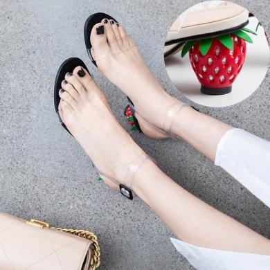 MIJI2019新款氣質拼色粗跟高跟鞋女夏季舒適透明簡約韓涼鞋女草莓跟CD-FDME-M881