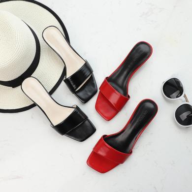 搭歌2019新款夏季女士沙灘鞋一字拖涼拖女夏外穿時尚FFH865-3