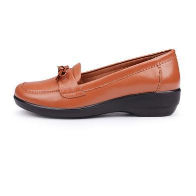 富贵鸟休闲妈妈鞋 皮鞋女单鞋 软底老人鞋奶奶鞋 M494708C