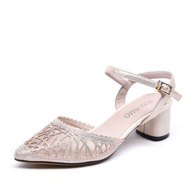 富贵鸟镂空透气细跟单鞋一字扣带凉鞋女 K92F833P
