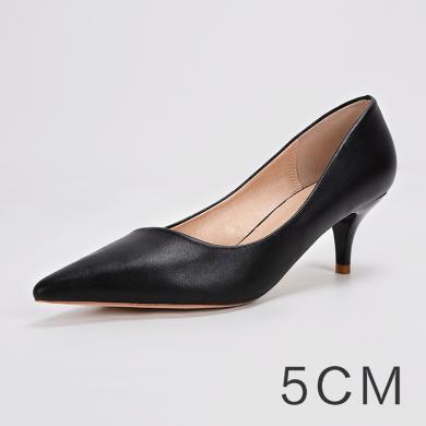 搭歌2019夏季新款女鞋高跟鞋女工作鞋單鞋淺口尖頭細跟職業女鞋FFH292-18