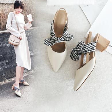 阿么2019新款韓版春季高跟鞋女粗跟尖頭蝴蝶結單鞋后空小清新女鞋