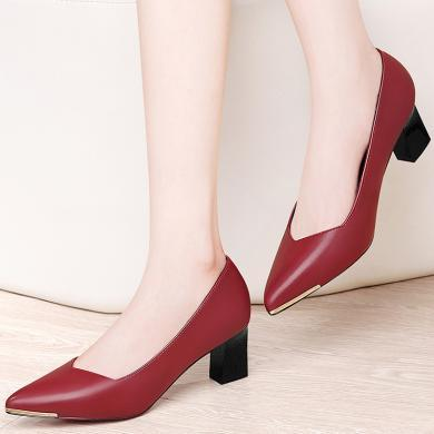 古奇天伦时尚尖头粗跟低帮鞋浅口套脚女鞋防水台女鞋子8708