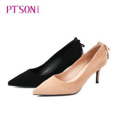 百田森2019新款单鞋女细跟高跟鞋女性感尖头韩版气质职业工作女鞋PYQ19552