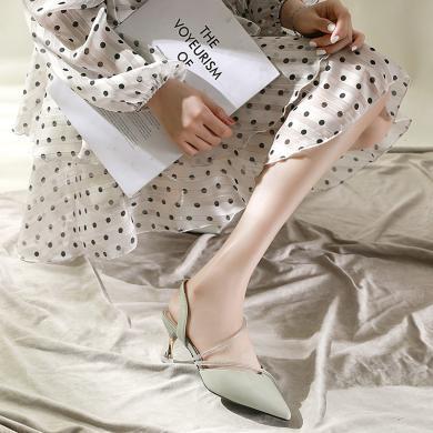 新款尖頭高跟鞋時尚中空涼鞋女包頭涼鞋女DX-d98201