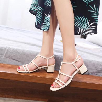 新款夏季高跟粗跟涼鞋女一字帶溫柔風女鞋氣質高跟鞋DX98080