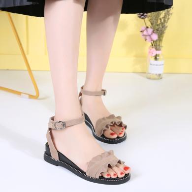 夏季新款荷葉邊涼鞋女一字帶扣搭涼鞋度假風低跟坡跟女鞋LS2028