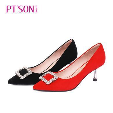 百田森 新款水鉆尖頭高跟鞋女 反絨紅色黑色單鞋時尚女鞋PYQ19608