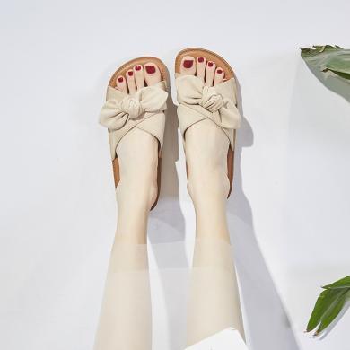 新款夏季蝴蝶結涼拖時尚度假風女鞋平底溫柔風拖鞋FYD0601-2