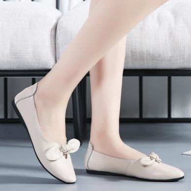 女鞋单鞋浅口平底蝴蝶结尖头女鞋平底鞋简约百搭日常休闲淑女鞋工作鞋 DL1187