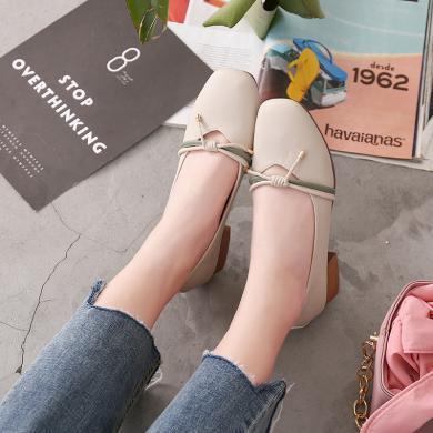 新款瑪麗珍單鞋女一腳蹬淺口單鞋女粗跟女鞋DX96100