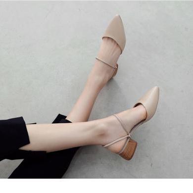 ZHR新款女鞋夏季網紅穆勒鞋粗跟高跟涼鞋包頭半拖鞋外穿女鞋