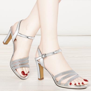 金絲兔性感一字扣高跟涼鞋女夏季新款少女簡約韓版羅馬方跟百搭女鞋