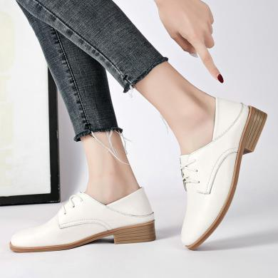 新款休闲两穿单鞋女时尚粗跟低跟单鞋女学院风女鞋MM7230