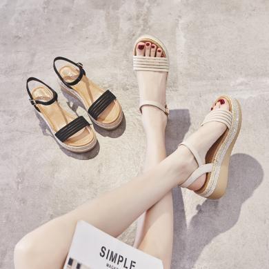 新款厚底坡跟涼鞋女飛織女鞋防水臺夏季涼鞋女坡跟鞋FYD0603-1